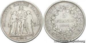 S8211 5 Francs Hercule 1848 A Paris Argent Silver - Faire Offre