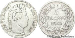 S8224 5 Francs Louis Philippe I 1832 D Lyon Argent Silver -> Faire Offre