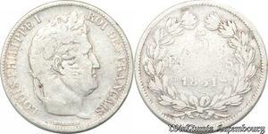 S8225 5 Francs Louis Philippe I 1831 B Rouen Argent Silver Domand Tr Relief
