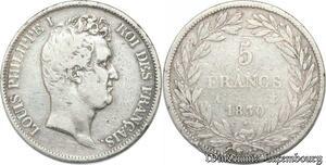 S8227 5 Francs Louis Philippe I 1830 A Paris Argent Silver Tioler Tr Relief