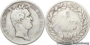 S8228 5 Francs Louis Philippe I 1831 K Bordeaux Argent Silver Tioler Tr Creux