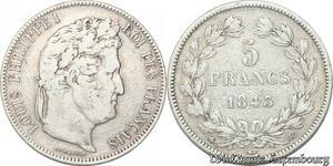 S8234 5 Francs Louis Philippe I 1843 BB Strasbourg Argent Silver -> Faire Offre