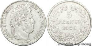S8239 5 Francs Louis Philippe I 1840 K Bordeaux Argent Silver -> Faire Offre