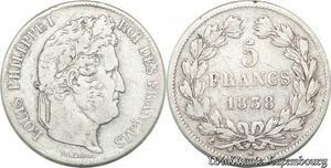 S8241 5 Francs Louis Philippe I 1838 A Paris Argent Silver -> Faire Offre