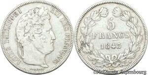S8244 5 Francs Louis Philippe I 1843 K Bordeaux Argent Silver -> Faire Offre