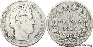 S8245 5 Francs Louis Philippe I 1842 W Lille Argent Silver -> Faire Offre