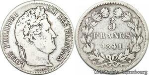 S8246 5 Francs Louis Philippe I 1841 W Lille Argent Silver -> Faire Offre