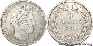 S8252 5 Francs Louis Philippe I 1834 H La Rochelle Argent Silver -> Faire Offre