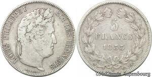 S8253 5 Francs Louis Philippe I 1833 T Nantes Argent Silver -> Faire Offre