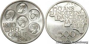S8479 Belgium 500 Francs 1830 1980 FDC UNC ! Argent Silver ->Faire Offre