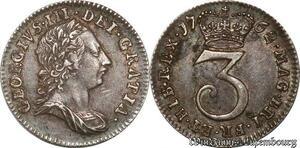 S8492 UK ! Great Britain GeorgeIII GeorgeIII 3 Pence 1762 AU ! Silver
