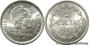 S8499 Espagne 2 Pesetas GobIno 1937 UNC FDC !-> Faire Offre
