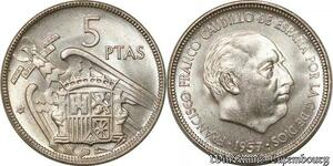 S8504 Espagne 5 Pesetas Francisco Franco Caudillo 1957 62 UNC FDC