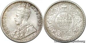 S8536 Inde 1 Rupee India 1919 George V Argent Silver AU -> Faire Offre