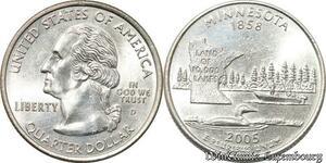 S8565 USA Quarte Dollar Minnesota 1858 2005 FDC BU -> Make Offer