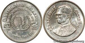 S8629 Thailand 2 Baht Rama IX International Year of Youth 2528 1985 UNC -