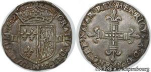 S8655 Rare Henri IV 1/4 Ecu de Navae 1602 Saint Palais Argent