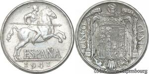 S8675 Espagne 5 Cinco Cents 1941 ->Make offer