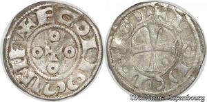 S8684 Rare DenI Comté D'Angoulême Louis IV d'Outremer 936-954 Argent