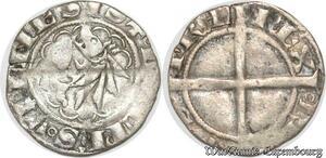 S8695 Rare Charles VII Dauphiné Roi Patard Blanc dentillé Romans Argent