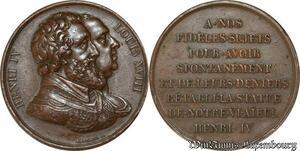 S8745 Médaille Henri IV Louis XVIII REtablissement statue Gayrard ->Faire Offre