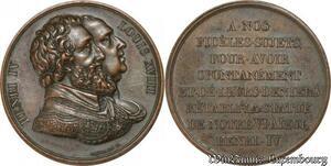 S8757 Médaille Henri IV Louis XVIII REtablissement statue Gayrard