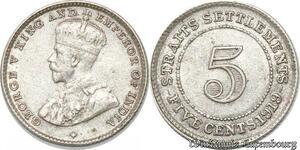 S8803 5 cents Settlements George V 1919 Argent Silver ->Make offer