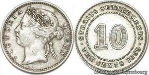 S8812 Rare 10 cents Settlements Victoria 1899 Argent Silver ->Make offer