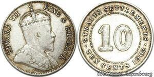 S8814 10 cents Settlements George V 1902 Argent Silver ->Make offer