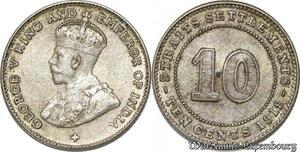 S8817 10 cents Settlements George V 1918 Argent Silver ->Make offer