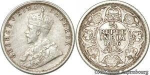 S8828 India-British 1/4 rupee George V 1916 Argent Silver ->Make offer