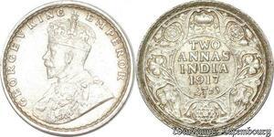 S8832 India-British 2 annas George V 1917 Argent Silver UNC ->Make offer