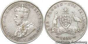 S8852 Australia Florin 2 Shillings George V 1931 Argent Silver ->Make offer
