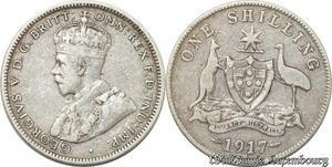 S8857 Australia Shilling 1917 M Melbourne Argent Silver ->make offer