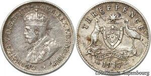 S8864 Australia Three 3 pence George V 1917 M Melbourne Silver ->Make offer