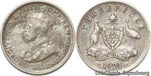 S8866 Australia Three 3 pence George V 1921 Argent Silver ->Make offer