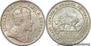 S8882 East Africa Uganda 25 Cents Edward VII 1906 Argent Silver UNC