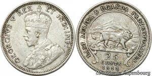 S8883 East Africa Uganda 25 Cents George V 1912 Argent Silver AU