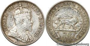 S8884 East Africa Uganda 25 Cents Edward VII 1910 H Argent Silver AU+++