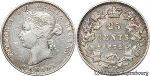 S8906 Canada 25 Cents Victoria 1872 H Small 2 Argent Silver ->Faire Offre