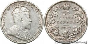 S8907 Scarce Canada 25 Cents Edward VII 1902 H Argent Silver ->Faire Offre