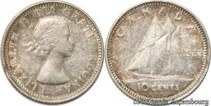 S8911 Canada 10 Cents Elisebeth II 1953 Argent Silver ->Faire Offre