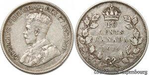 S8916 Canada 10 Cents George V 1914 Argent Silver ->Make offer