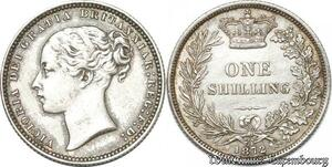 S8953 Great Britain Shilling Victoria 1872 Argent Silver AU ! ->Make offer