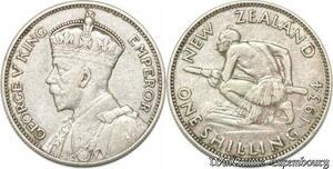 S8971 Nouvelle-Zélande 1 Shilling George V 1934 Argent Silver ->Make offer