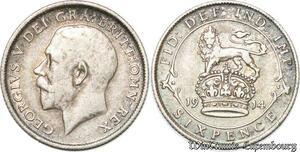 S8999 Great Britain 6 Pence George V 1914 Argent Silver ->Make offer