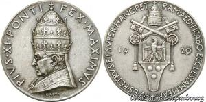 S9016 Medaglia Medal Papal Vatican Pivs XI 1929 Silver ->Make offer