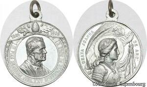 S9155 Medaglia Vatican Pope 1884 1909 Jubil XXV Beata Joanna Jeanne D'arc