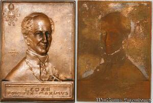 S9239 Plaque Médaille Vatican Leo XIII Pontifex Maximvs uniface incuse