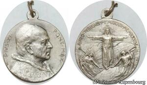 S9256 Médaille Papal Vatican Pius Pie XI Pont Max anno sancto 1933 Silvered